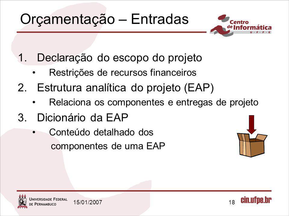 15/01/200718 Orçamentação – Entradas 1.Declaração do escopo do projeto Restrições de recursos financeiros 2.Estrutura analítica do projeto (EAP) Relac