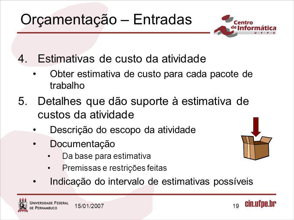 15/01/200719 Orçamentação – Entradas 4.Estimativas de custo da atividade Obter estimativa de custo para cada pacote de trabalho 5.Detalhes que dão sup