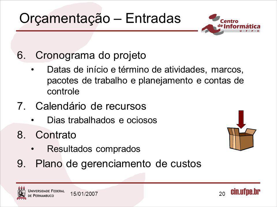 15/01/200720 Orçamentação – Entradas 6.Cronograma do projeto Datas de início e término de atividades, marcos, pacotes de trabalho e planejamento e con