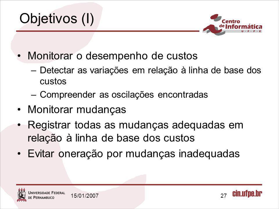 15/01/200727 Objetivos (I) Monitorar o desempenho de custos –Detectar as variações em relação à linha de base dos custos –Compreender as oscilações en