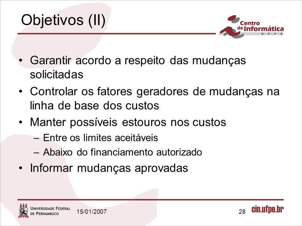 15/01/200728 Objetivos (II) Garantir acordo a respeito das mudanças solicitadas Controlar os fatores geradores de mudanças na linha de base dos custos