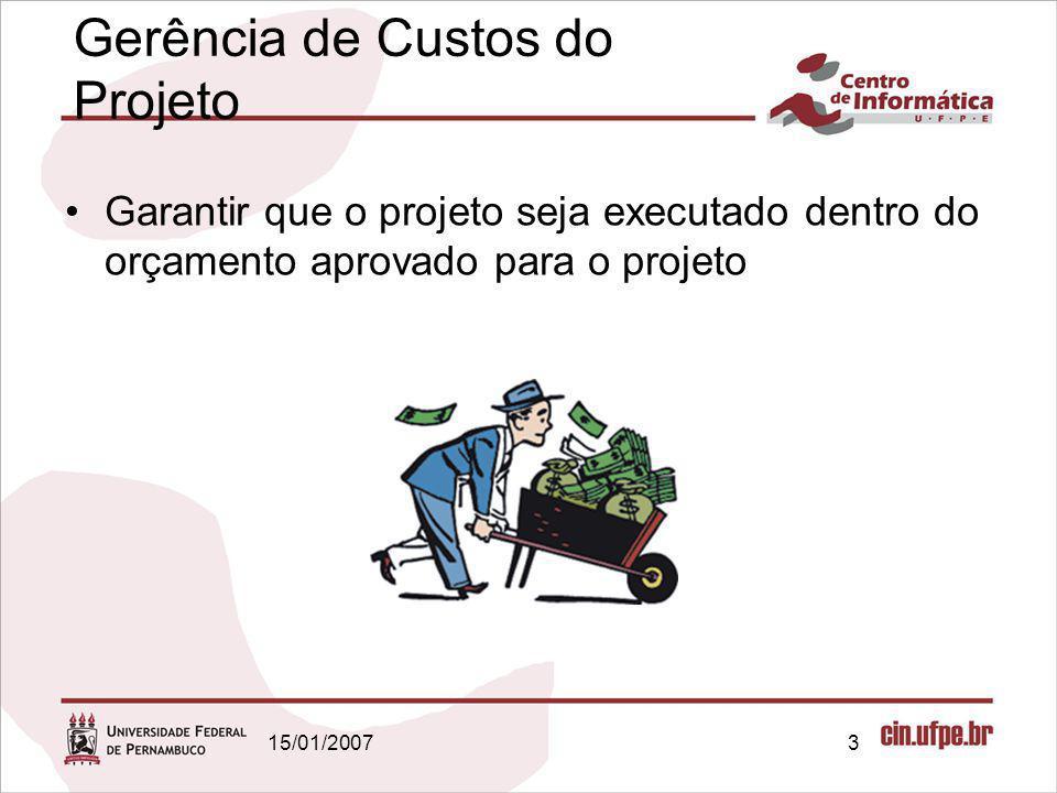 15/01/20073 Garantir que o projeto seja executado dentro do orçamento aprovado para o projeto Gerência de Custos do Projeto