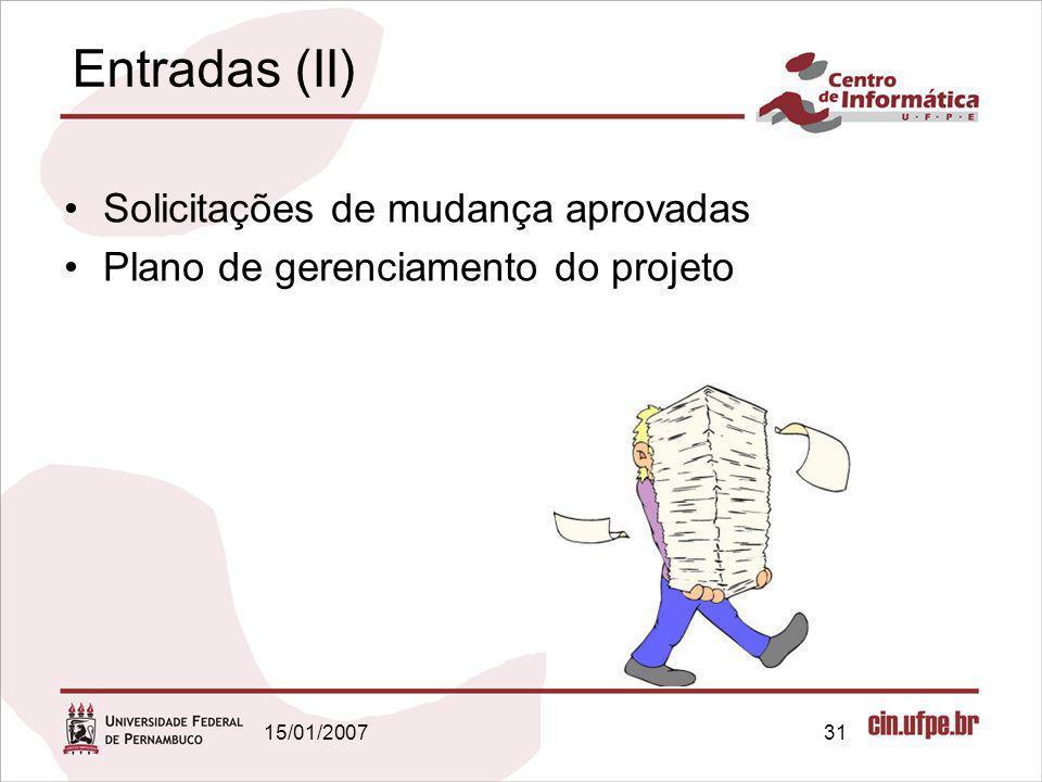 15/01/200731 Entradas (II) Solicitações de mudança aprovadas Plano de gerenciamento do projeto