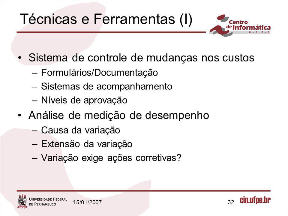 15/01/200732 Técnicas e Ferramentas (I) Sistema de controle de mudanças nos custos –Formulários/Documentação –Sistemas de acompanhamento –Níveis de ap
