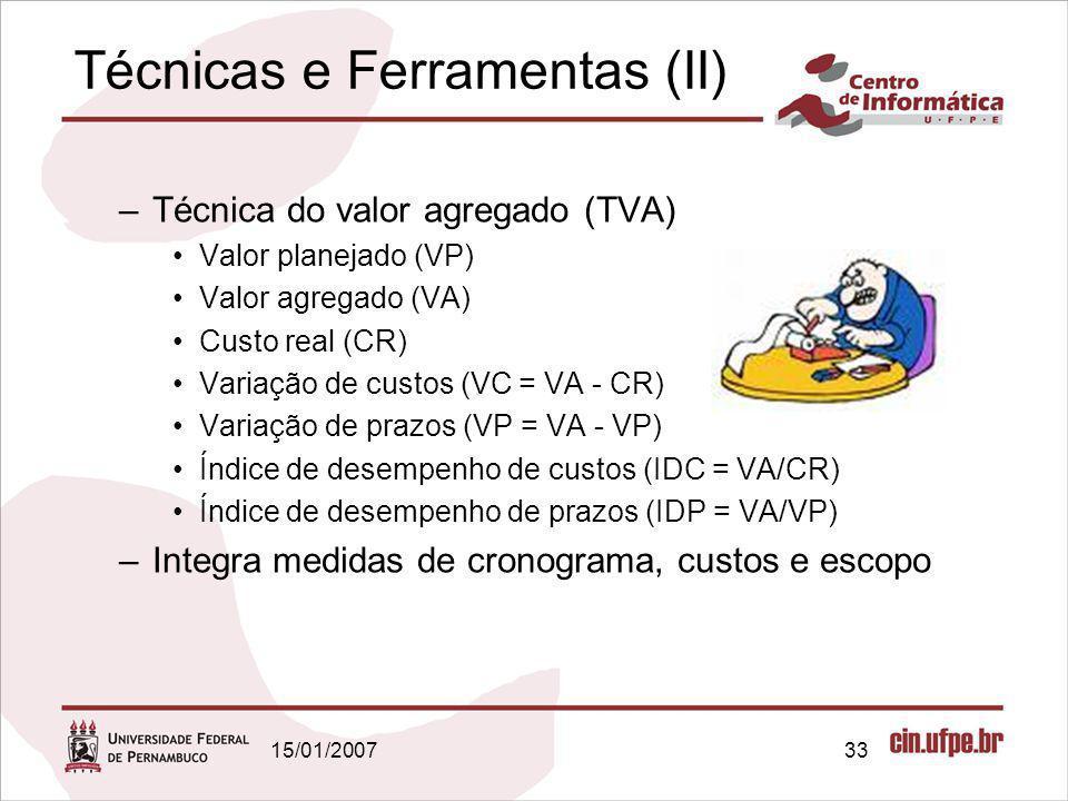 15/01/200733 Técnicas e Ferramentas (II) –Técnica do valor agregado (TVA) Valor planejado (VP) Valor agregado (VA) Custo real (CR) Variação de custos