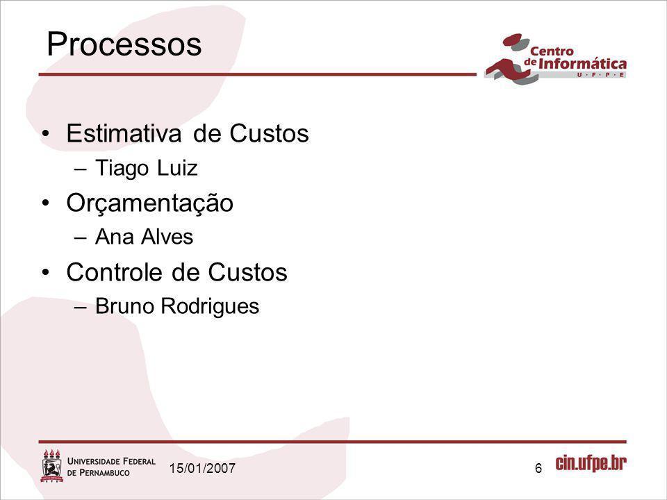 15/01/20076 Processos Estimativa de Custos –Tiago Luiz Orçamentação –Ana Alves Controle de Custos –Bruno Rodrigues