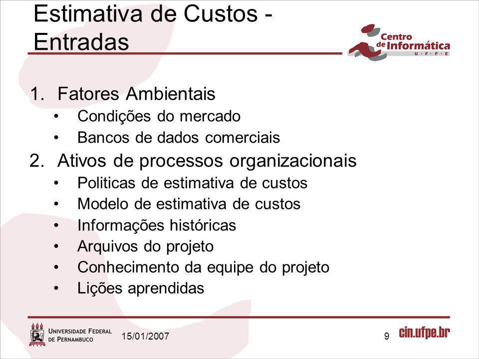 15/01/20079 Estimativa de Custos - Entradas 1.Fatores Ambientais Condições do mercado Bancos de dados comerciais 2.Ativos de processos organizacionais