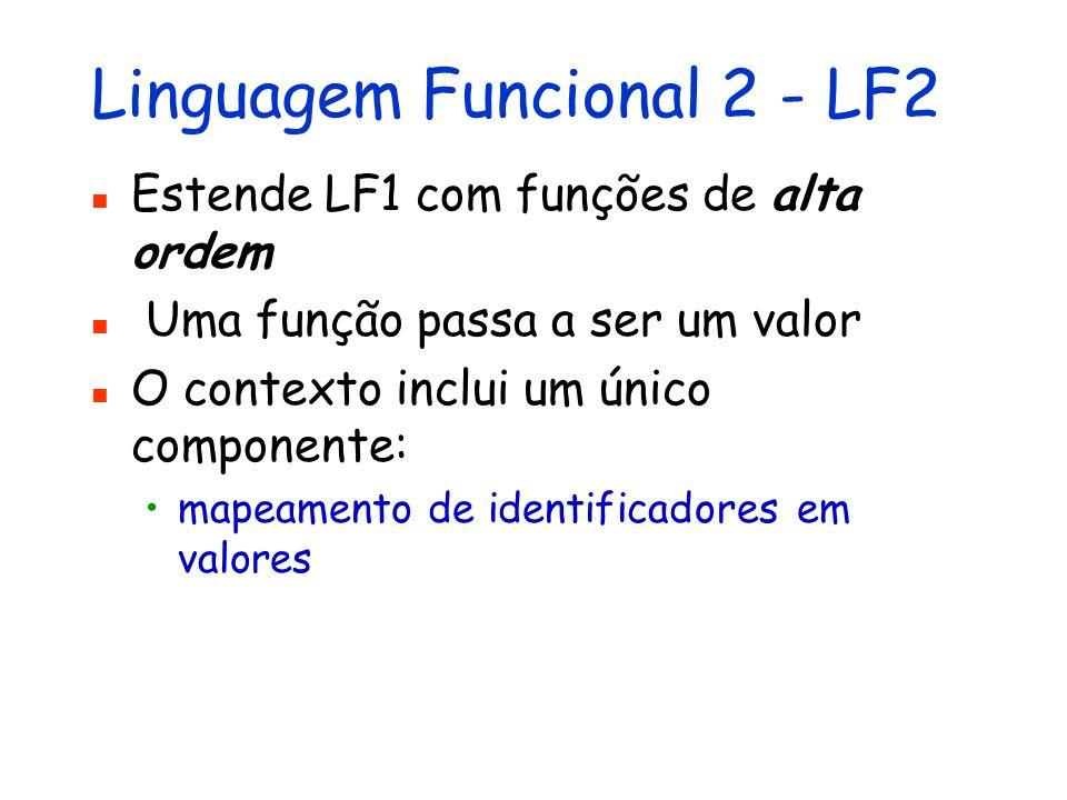 Linguagem Funcional 2 - LF2 Estende LF1 com funções de alta ordem Uma função passa a ser um valor O contexto inclui um único componente: mapeamento de identificadores em valores