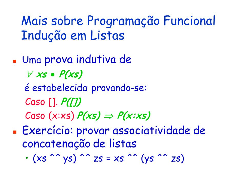 Compreensão de Listas quicksort em LF3 let fun quicksort op xs = if (xs ==[]) then [] else (quicksort(op, [k for k in tail(xs) if op(k, head(xs))])) ^^ ([head(xs)] ^^ (quicksort(op, [y for y in tail(xs) if (not op(y, head(xs)))]))) in let fun maiorQue x y = x > y in quicksort(maiorQue, [2,1,4,3])