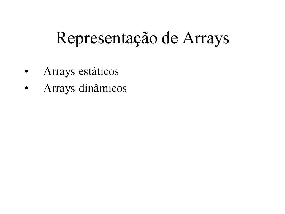 Representação de Arrays Arrays estáticos Arrays dinâmicos