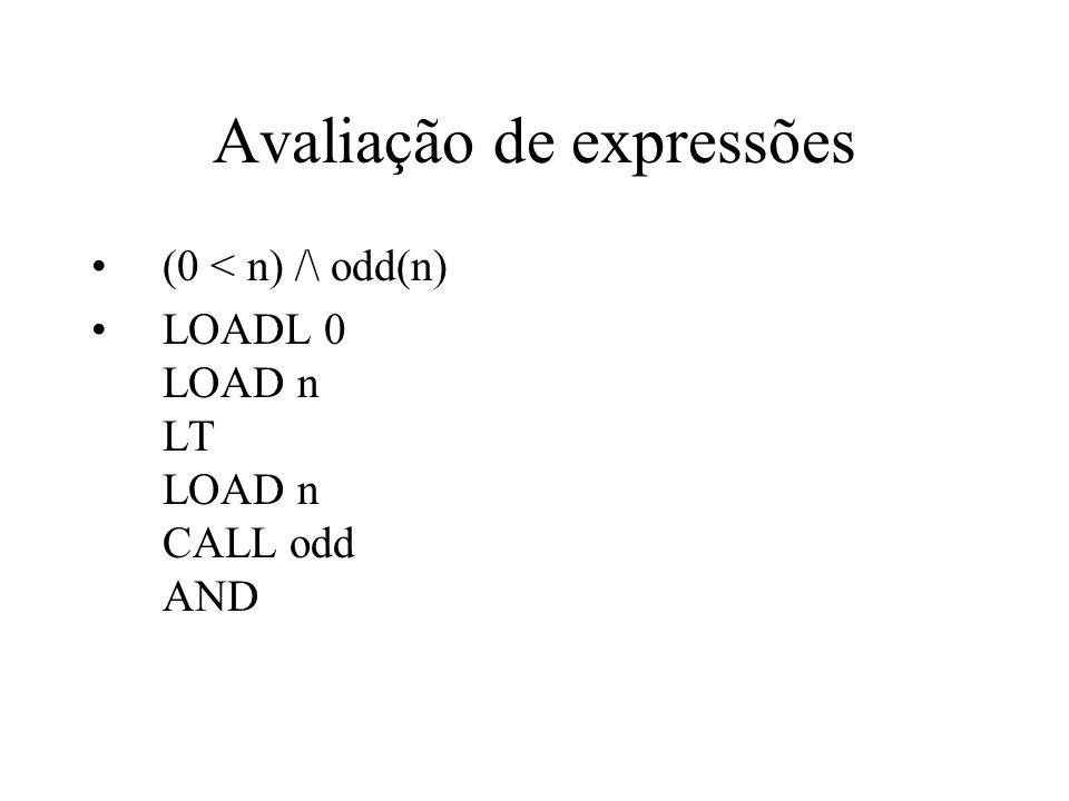 Avaliação de expressões (0 < n) /\ odd(n) LOADL 0 LOAD n LT LOAD n CALL odd AND