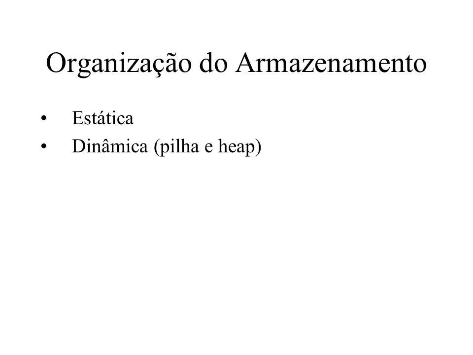 Organização do Armazenamento Estática Dinâmica (pilha e heap)
