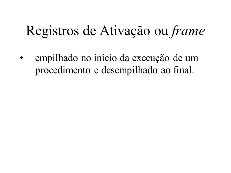 Registros de Ativação ou frame empilhado no início da execução de um procedimento e desempilhado ao final.
