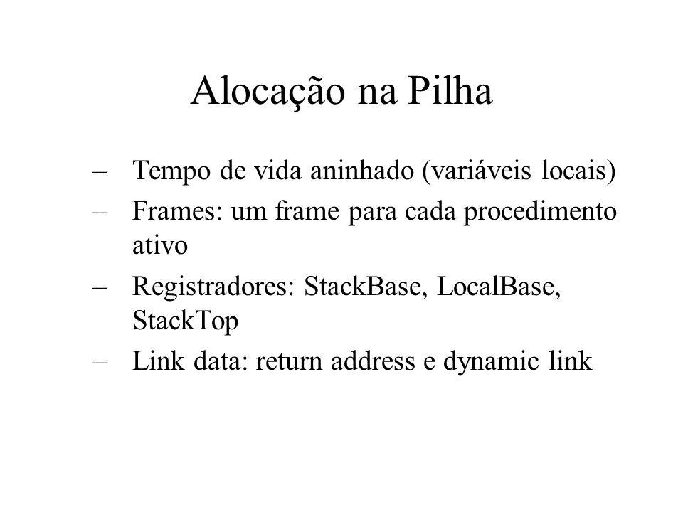 Alocação na Pilha –Tempo de vida aninhado (variáveis locais) –Frames: um frame para cada procedimento ativo –Registradores: StackBase, LocalBase, StackTop –Link data: return address e dynamic link