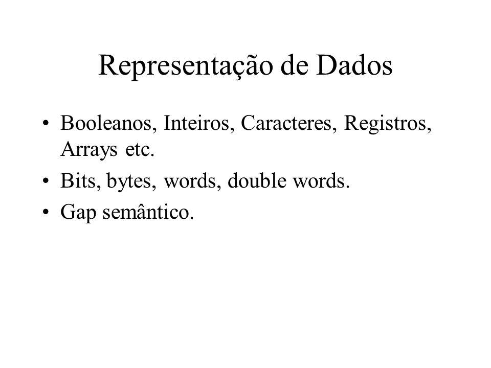 Representação de Dados Booleanos, Inteiros, Caracteres, Registros, Arrays etc.