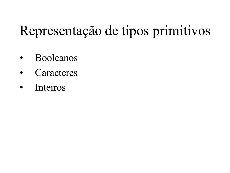 Representação de tipos primitivos Booleanos Caracteres Inteiros