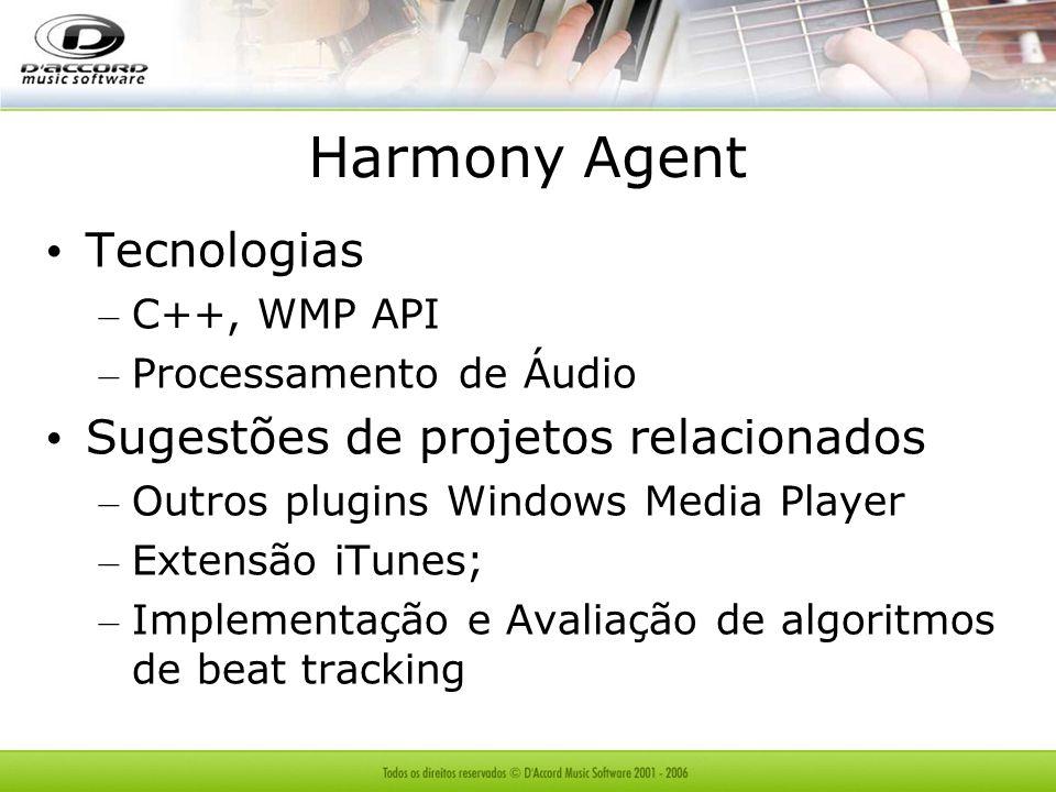 Tecnologias – C++, WMP API – Processamento de Áudio Sugestões de projetos relacionados – Outros plugins Windows Media Player – Extensão iTunes; – Impl