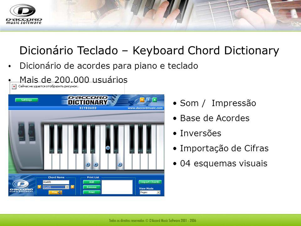 Dicionário Teclado – Keyboard Chord Dictionary Dicionário de acordes para piano e teclado Mais de 200.000 usuários Som / Impressão Base de Acordes Inversões Importação de Cifras 04 esquemas visuais