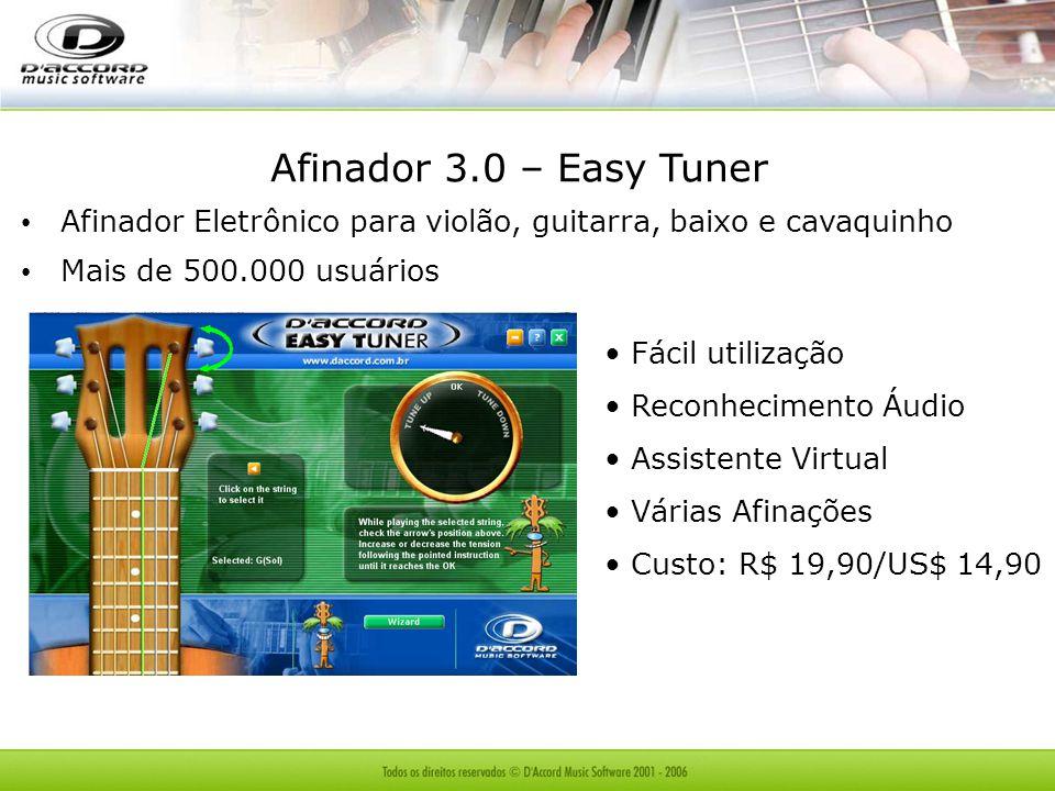 Afinador 3.0 – Easy Tuner Afinador Eletrônico para violão, guitarra, baixo e cavaquinho Mais de 500.000 usuários Fácil utilização Reconhecimento Áudio Assistente Virtual Várias Afinações Custo: R$ 19,90/US$ 14,90