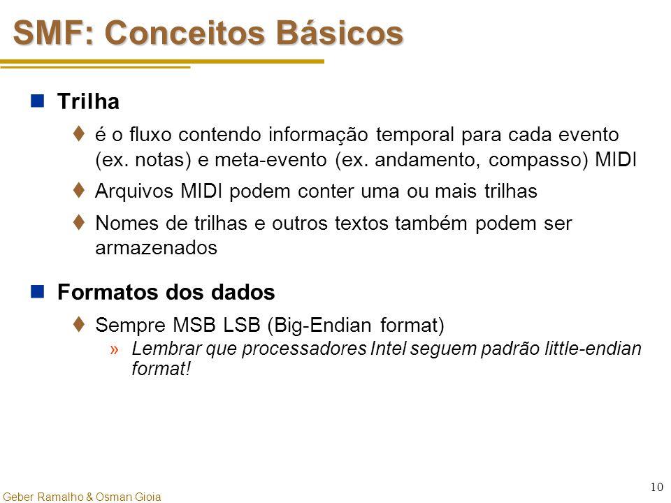 Geber Ramalho & Osman Gioia 10 SMF: Conceitos Básicos Trilha  é o fluxo contendo informação temporal para cada evento (ex. notas) e meta-evento (ex.