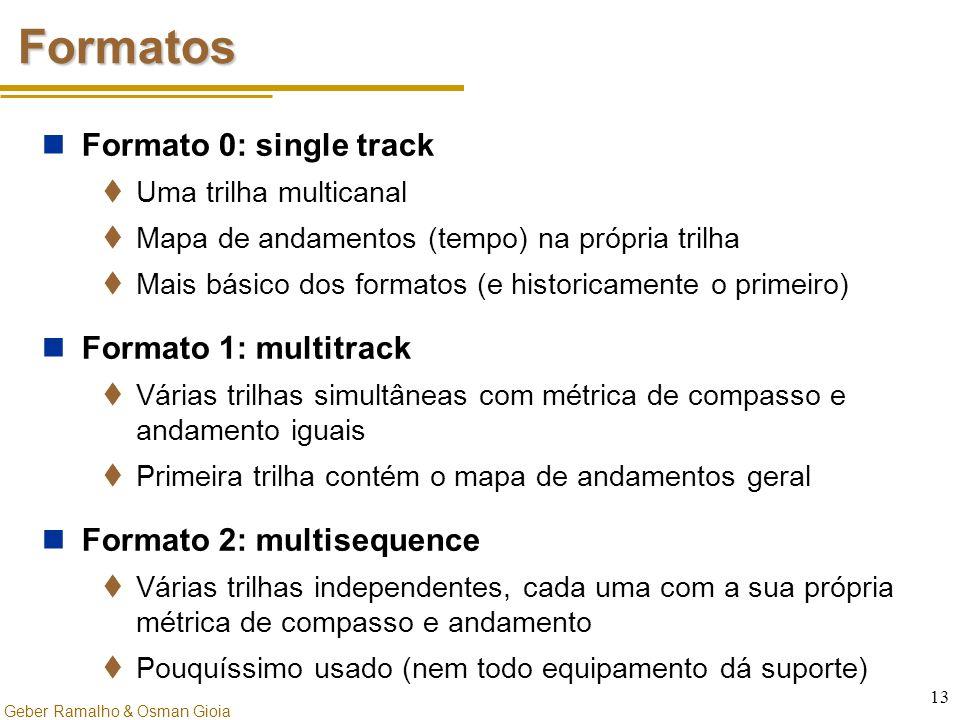 Geber Ramalho & Osman Gioia 13 Formatos Formato 0: single track  Uma trilha multicanal  Mapa de andamentos (tempo) na própria trilha  Mais básico d