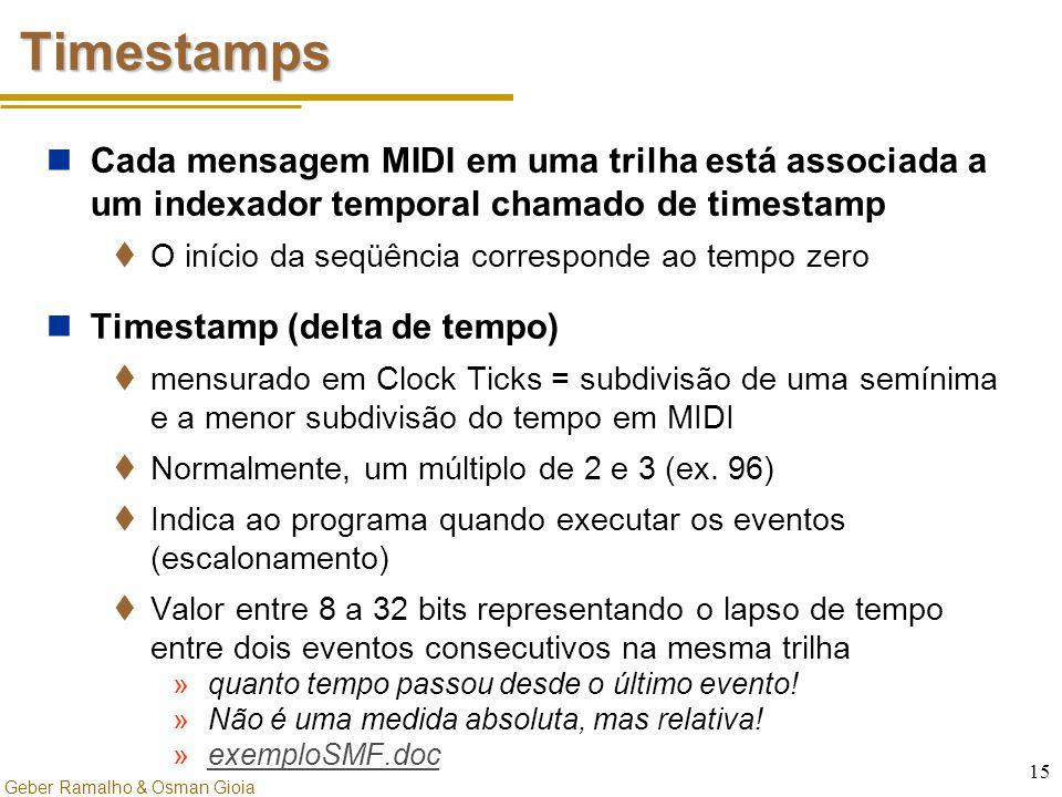 Geber Ramalho & Osman Gioia 15 Timestamps Cada mensagem MIDI em uma trilha está associada a um indexador temporal chamado de timestamp  O início da s
