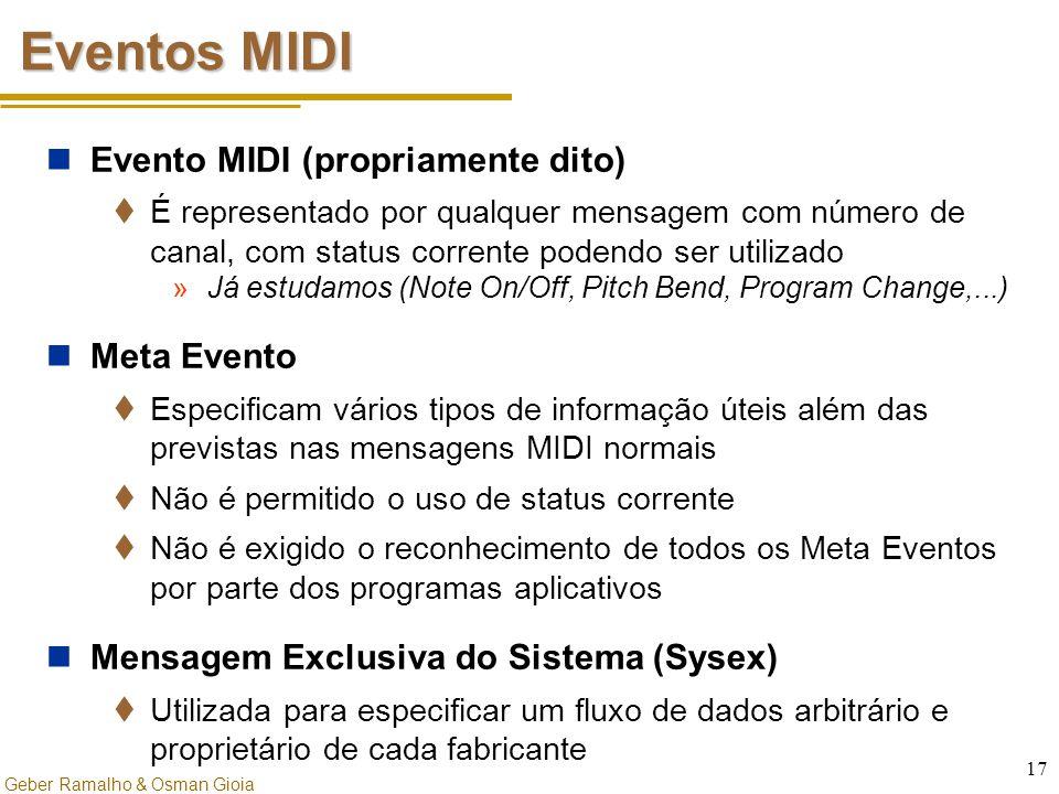 Geber Ramalho & Osman Gioia 17 Eventos MIDI Evento MIDI (propriamente dito)  É representado por qualquer mensagem com número de canal, com status cor
