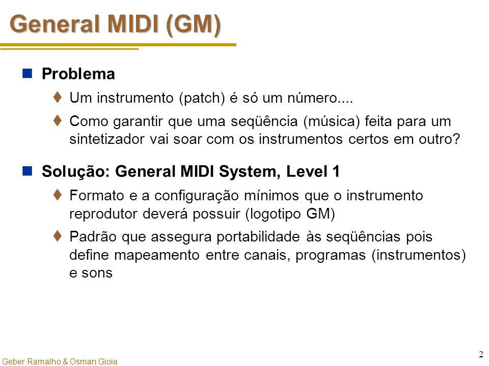 Geber Ramalho & Osman Gioia 2 General MIDI (GM) Problema  Um instrumento (patch) é só um número....  Como garantir que uma seqüência (música) feita
