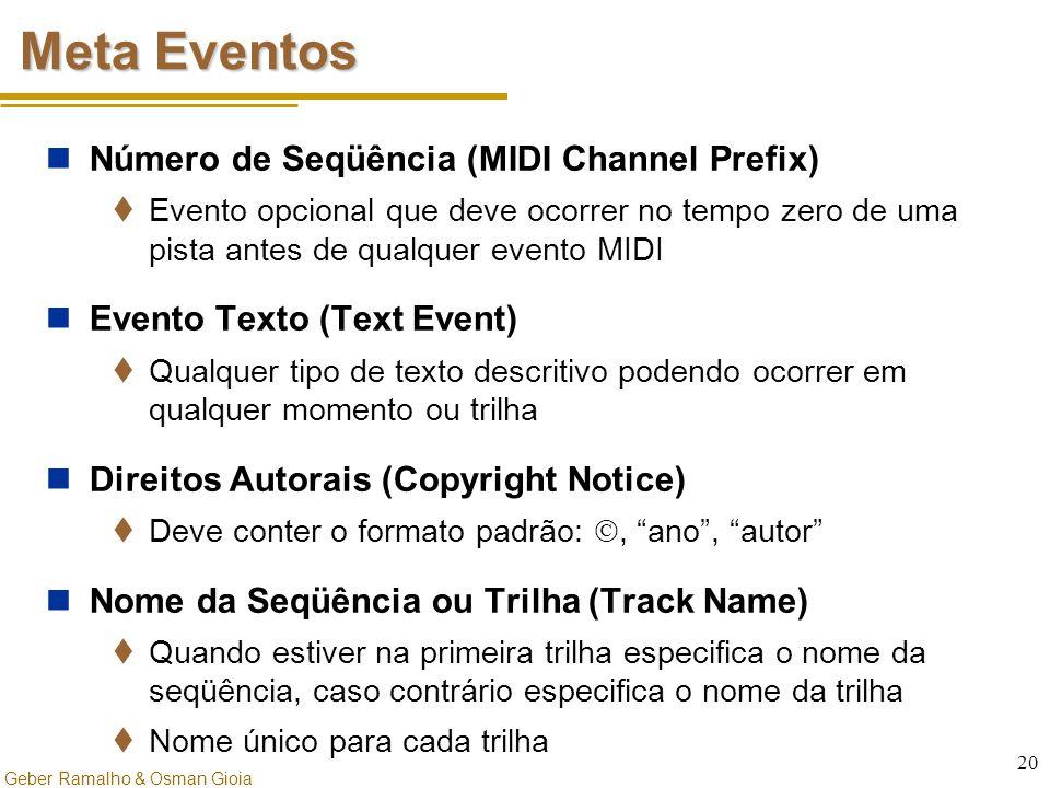 Geber Ramalho & Osman Gioia 20 Meta Eventos Número de Seqüência (MIDI Channel Prefix)  Evento opcional que deve ocorrer no tempo zero de uma pista an