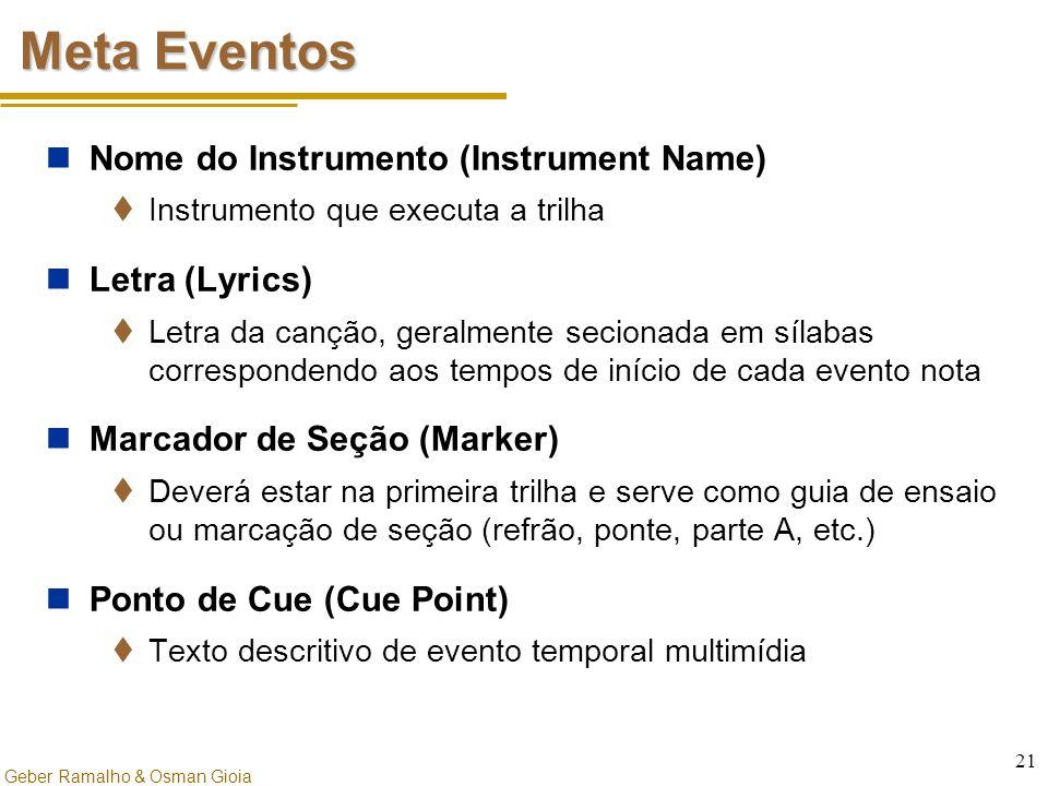 Geber Ramalho & Osman Gioia 21 Meta Eventos Nome do Instrumento (Instrument Name)  Instrumento que executa a trilha Letra (Lyrics)  Letra da canção,