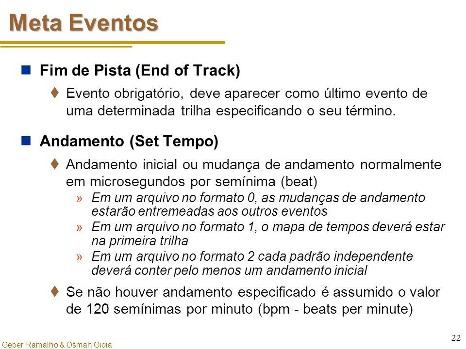 Geber Ramalho & Osman Gioia 22 Meta Eventos Fim de Pista (End of Track)  Evento obrigatório, deve aparecer como último evento de uma determinada tril