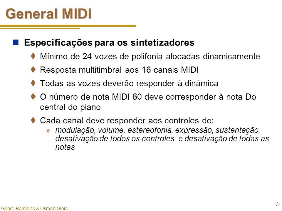 Geber Ramalho & Osman Gioia 3 General MIDI Especificações para os sintetizadores  Mínimo de 24 vozes de polifonia alocadas dinamicamente  Resposta m