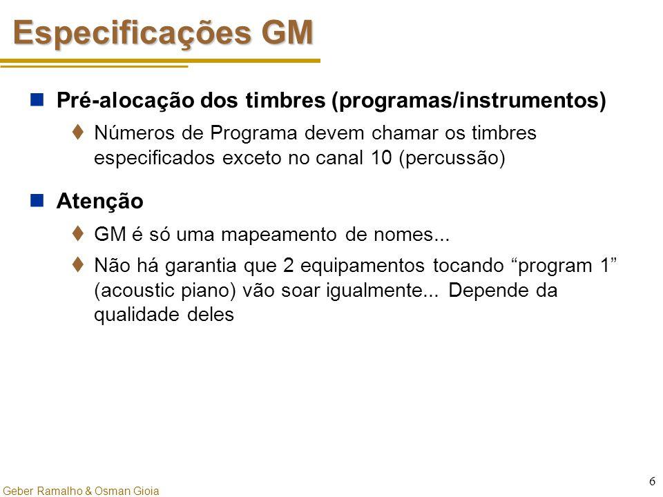 Geber Ramalho & Osman Gioia 6 Especificações GM Pré-alocação dos timbres (programas/instrumentos)  Números de Programa devem chamar os timbres especi