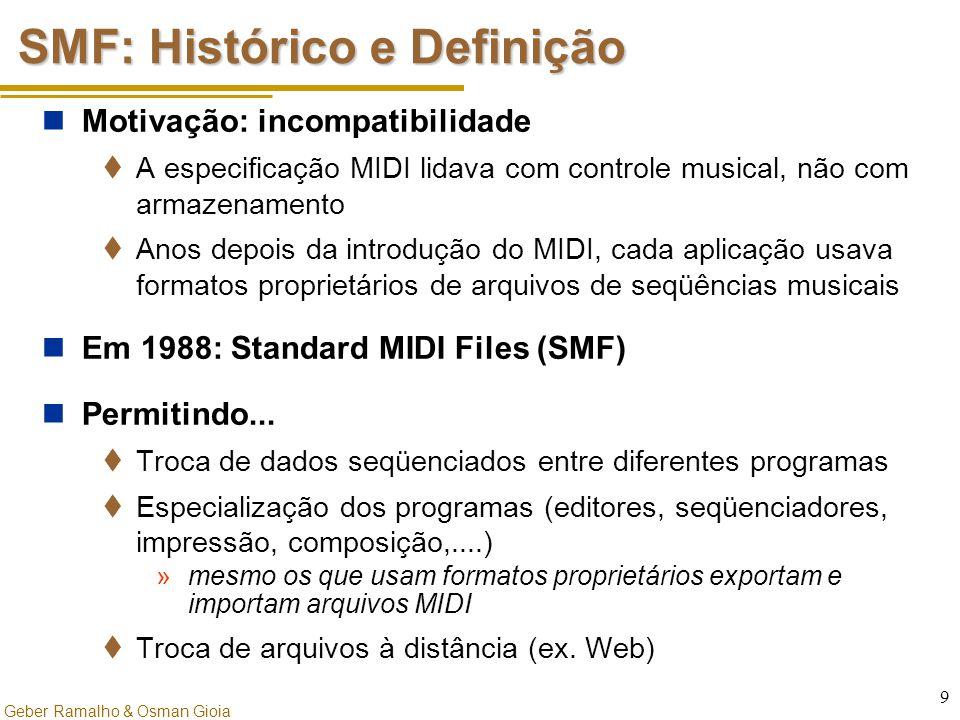 Geber Ramalho & Osman Gioia 9 SMF: Histórico e Definição Motivação: incompatibilidade  A especificação MIDI lidava com controle musical, não com arma