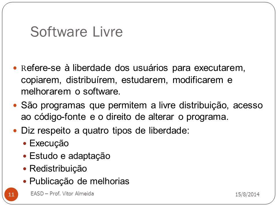 Software Livre 15/8/2014 EASD – Prof. Vitor Almeida 11 R efere-se à liberdade dos usuários para executarem, copiarem, distribuírem, estudarem, modific