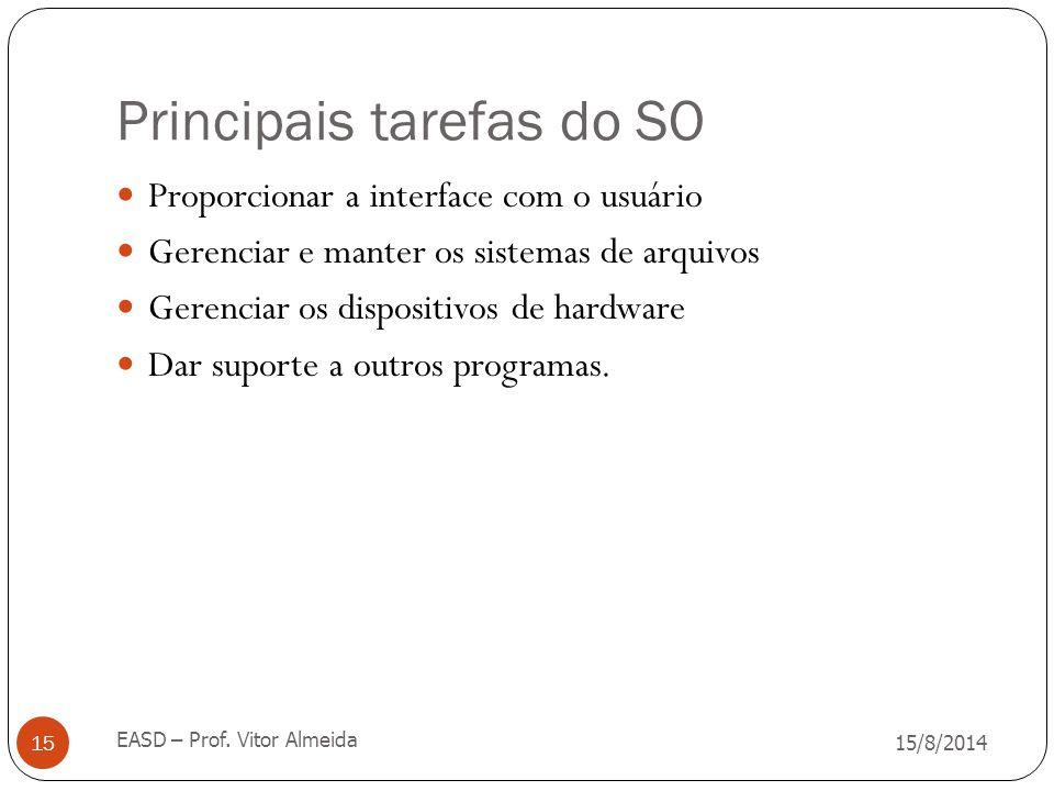 Principais tarefas do SO 15/8/2014 EASD – Prof. Vitor Almeida 15 Proporcionar a interface com o usuário Gerenciar e manter os sistemas de arquivos Ger