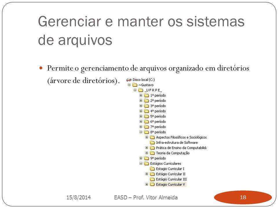 Gerenciar e manter os sistemas de arquivos Permite o gerenciamento de arquivos organizado em diretórios (árvore de diretórios). 15/8/2014EASD – Prof.