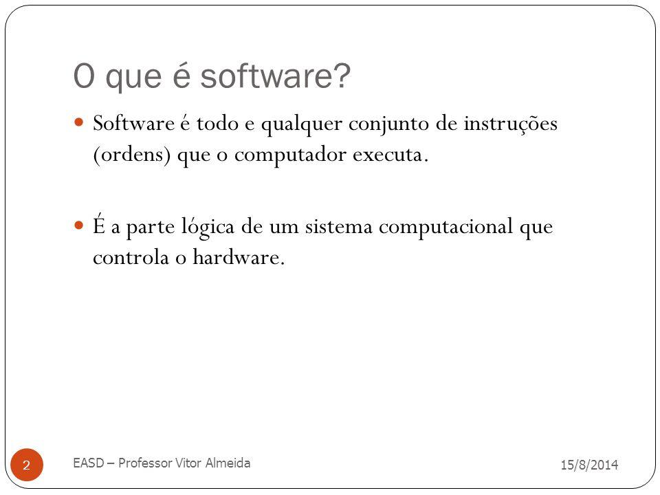 O que é software? 15/8/2014 EASD – Professor Vitor Almeida 2 Software é todo e qualquer conjunto de instruções (ordens) que o computador executa. É a