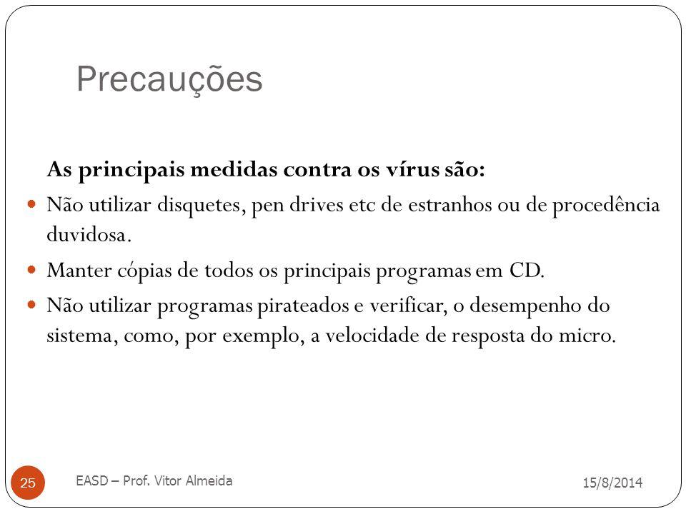 Precauções 15/8/2014 EASD – Prof. Vitor Almeida 25 As principais medidas contra os vírus são: Não utilizar disquetes, pen drives etc de estranhos ou d
