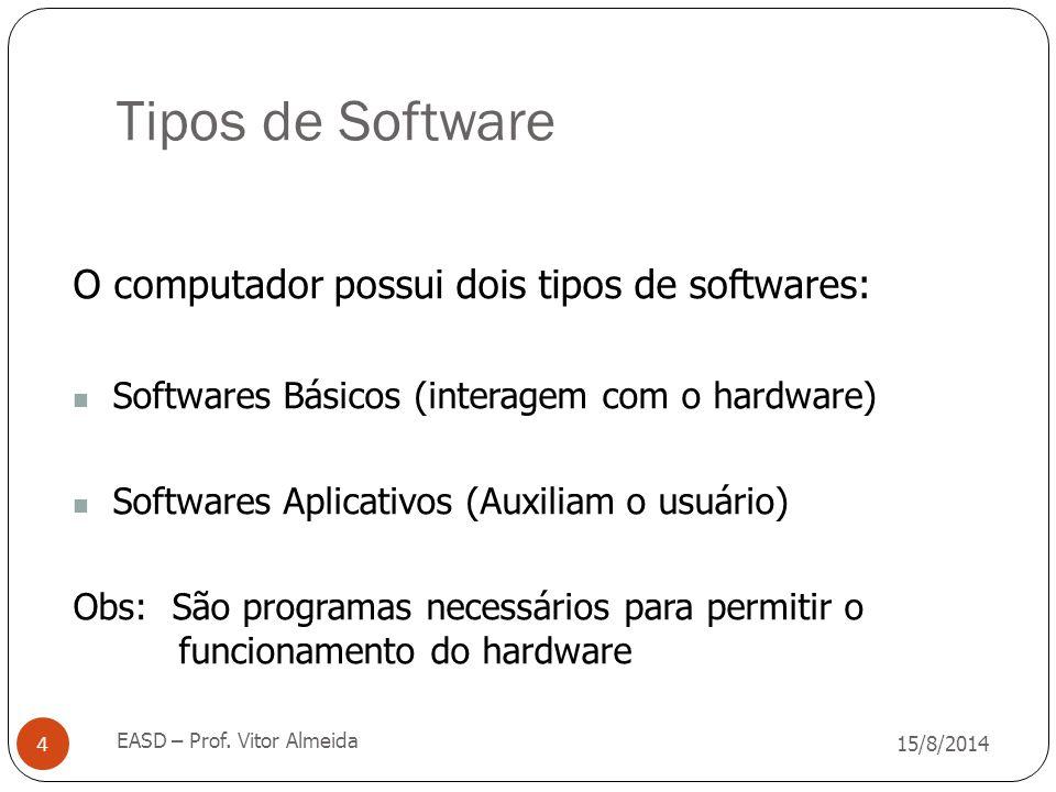 Tipos de Software 15/8/2014 EASD – Prof. Vitor Almeida 4 O computador possui dois tipos de softwares: Softwares Básicos (interagem com o hardware) Sof