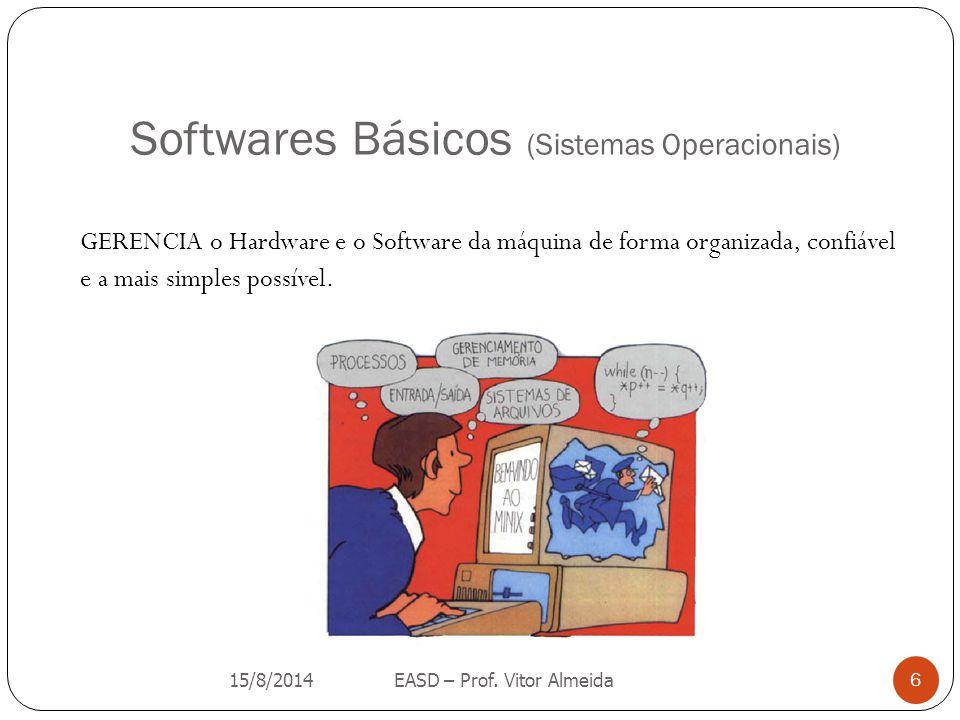 Softwares Básicos (Sistemas Operacionais) GERENCIA o Hardware e o Software da máquina de forma organizada, confiável e a mais simples possível. 15/8/2