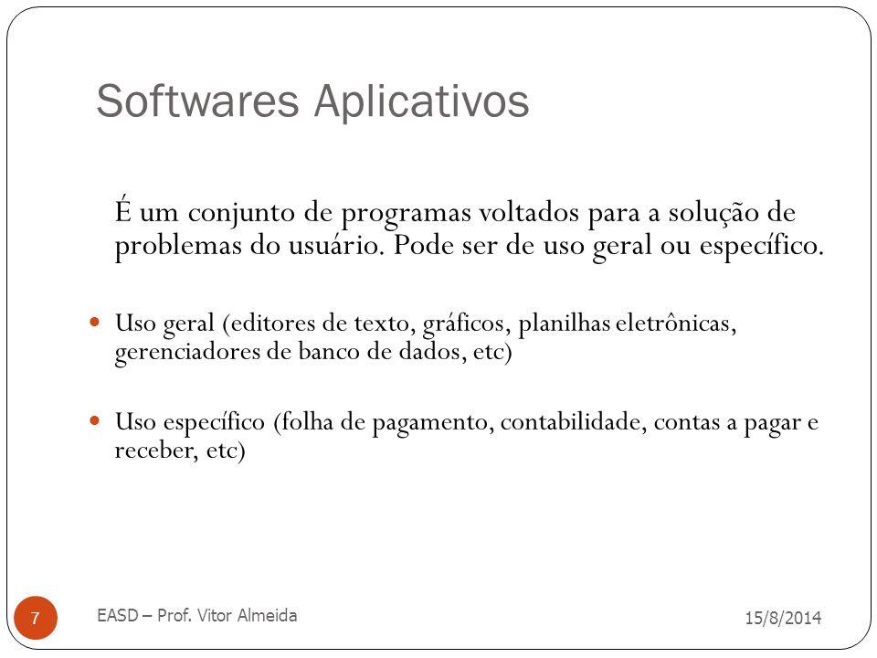 Softwares Aplicativos 15/8/2014 EASD – Prof. Vitor Almeida 7 É um conjunto de programas voltados para a solução de problemas do usuário. Pode ser de u