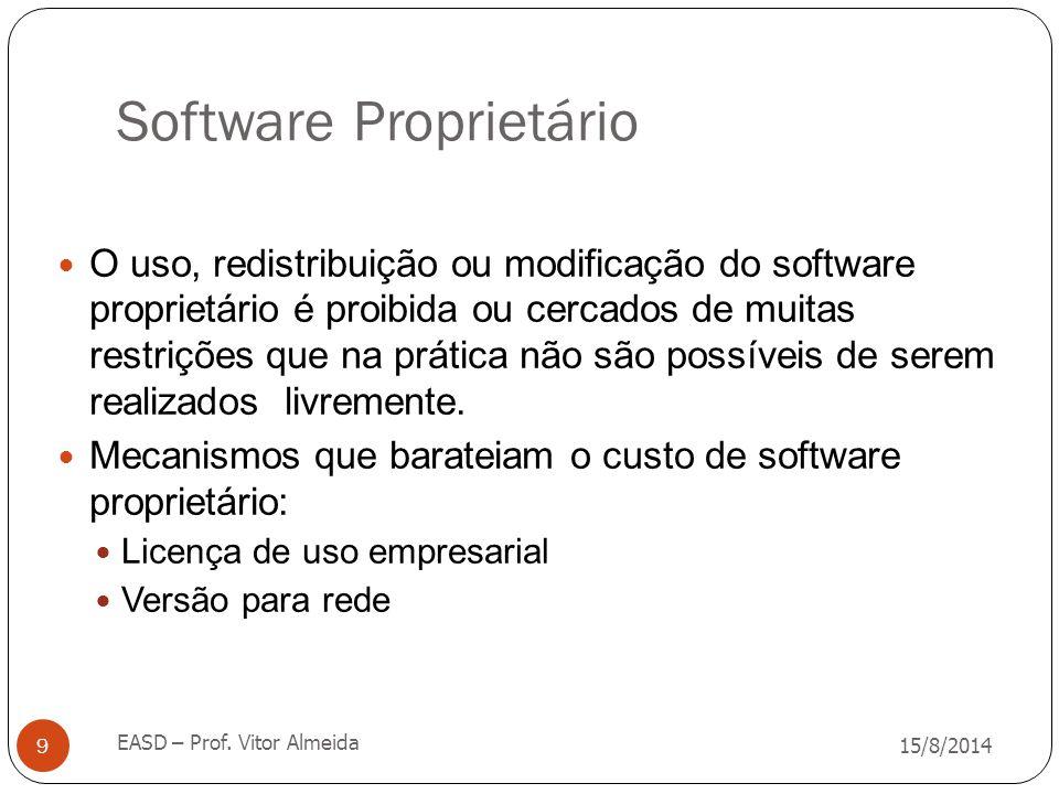 Software Proprietário 15/8/2014 EASD – Prof. Vitor Almeida 9 O uso, redistribuição ou modificação do software proprietário é proibida ou cercados de m