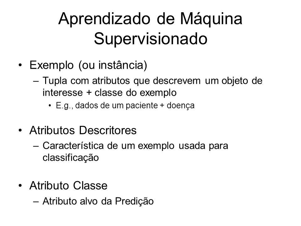 Aprendizado de Máquina Supervisionado Exemplo (ou instância) –Tupla com atributos que descrevem um objeto de interesse + classe do exemplo E.g., dados