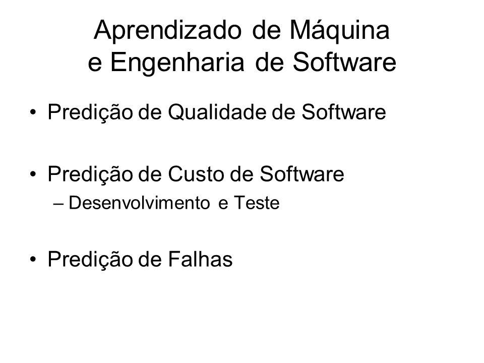 Aprendizado de Máquina e Engenharia de Software Predição de Qualidade de Software Predição de Custo de Software –Desenvolvimento e Teste Predição de Falhas