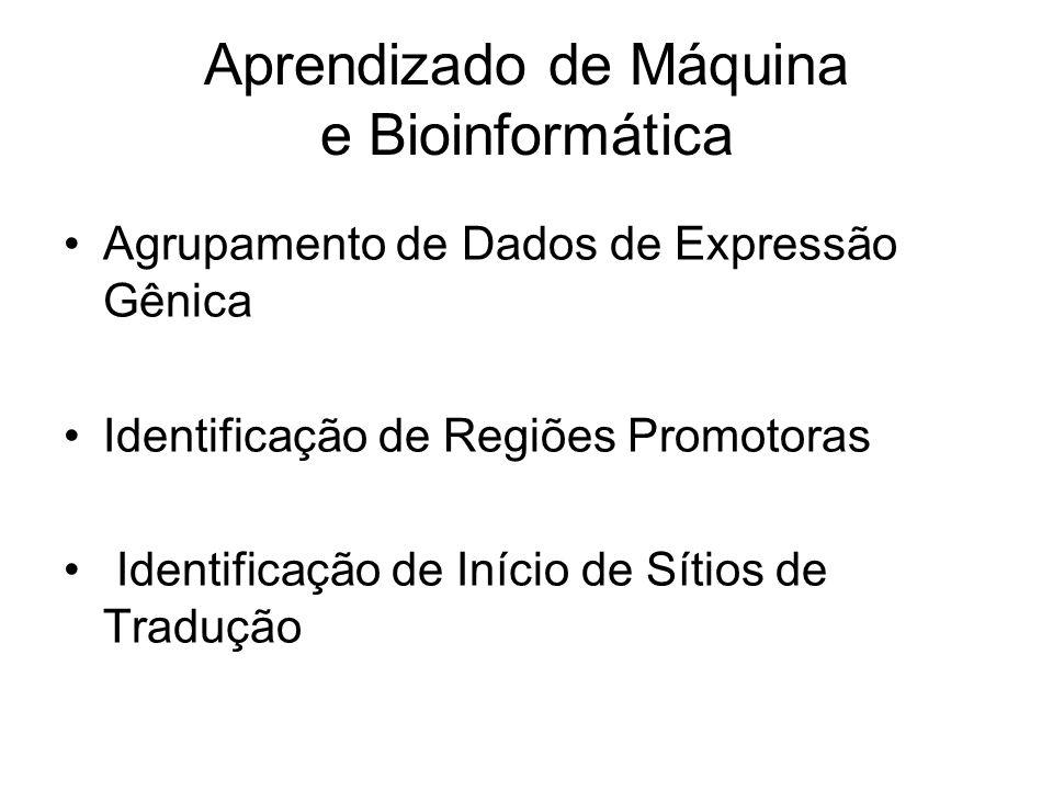 Aprendizado de Máquina e Bioinformática Agrupamento de Dados de Expressão Gênica Identificação de Regiões Promotoras Identificação de Início de Sítios de Tradução