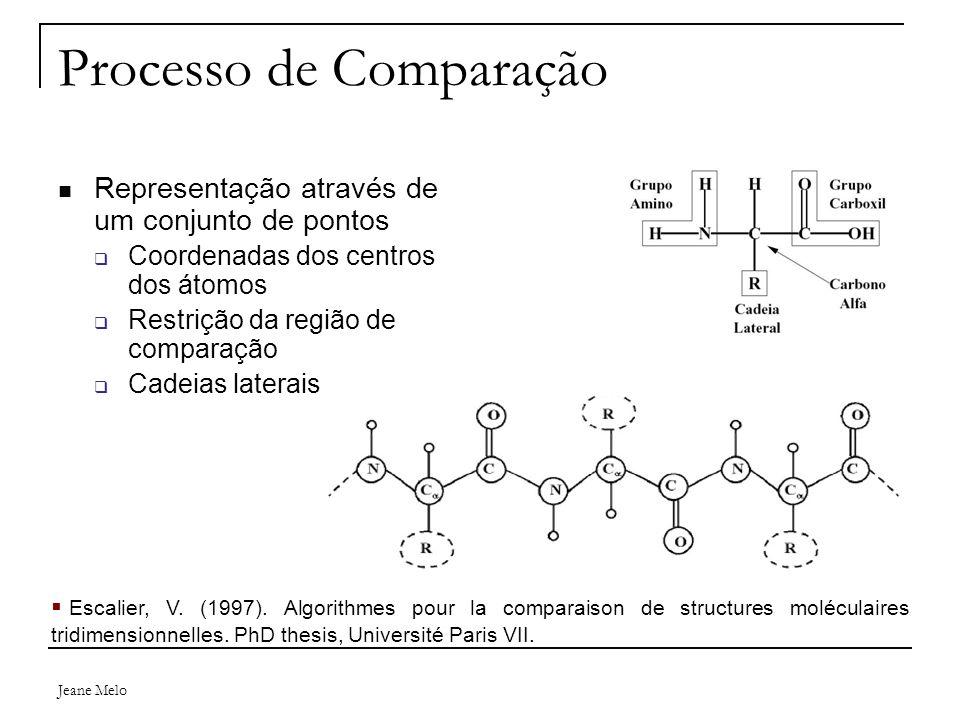 Jeane Melo Processo de Comparação Representação através de um conjunto de pontos  Coordenadas dos centros dos átomos  Restrição da região de comparação  Cadeias laterais  Escalier, V.