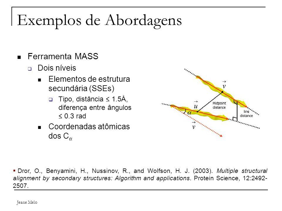 Jeane Melo Exemplos de Abordagens Ferramenta MASS  Dois níveis Elementos de estrutura secundária (SSEs)  Tipo, distância  1.5Å, diferença entre ângulos  0.3 rad Coordenadas atômicas dos C   Dror, O., Benyamini, H., Nussinov, R., and Wolfson, H.