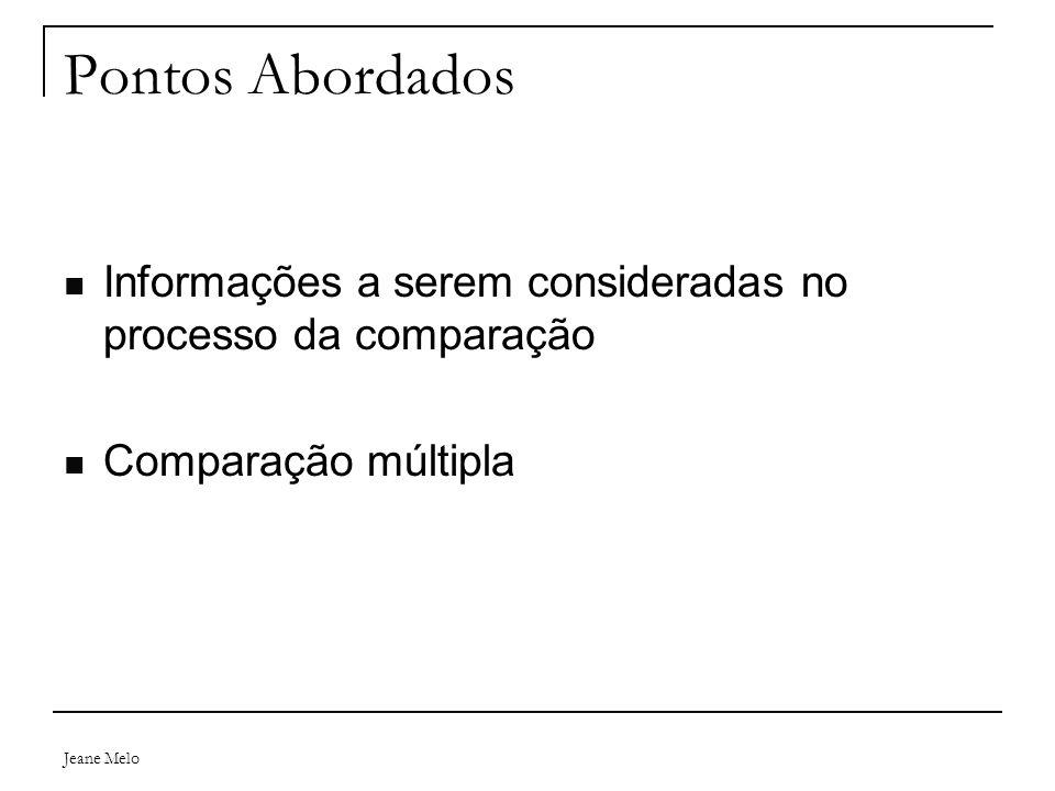 Jeane Melo Pontos Abordados Informações a serem consideradas no processo da comparação Comparação múltipla