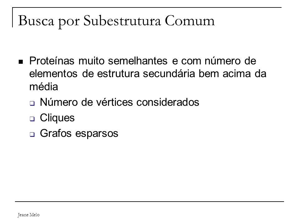 Jeane Melo Busca por Subestrutura Comum Proteínas muito semelhantes e com número de elementos de estrutura secundária bem acima da média  Número de v